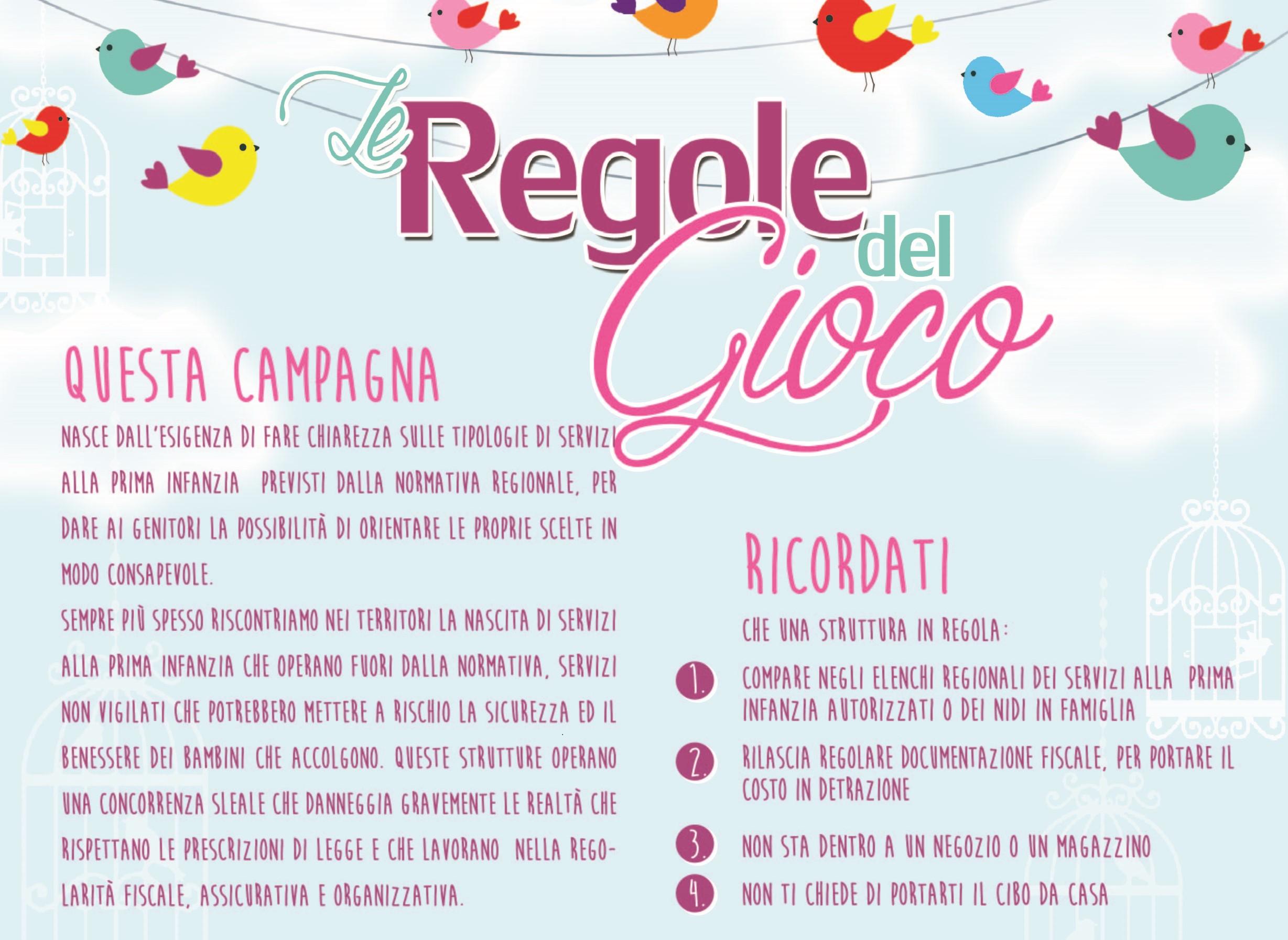 Campagna informativa LE REGOLE DEL GIOCO