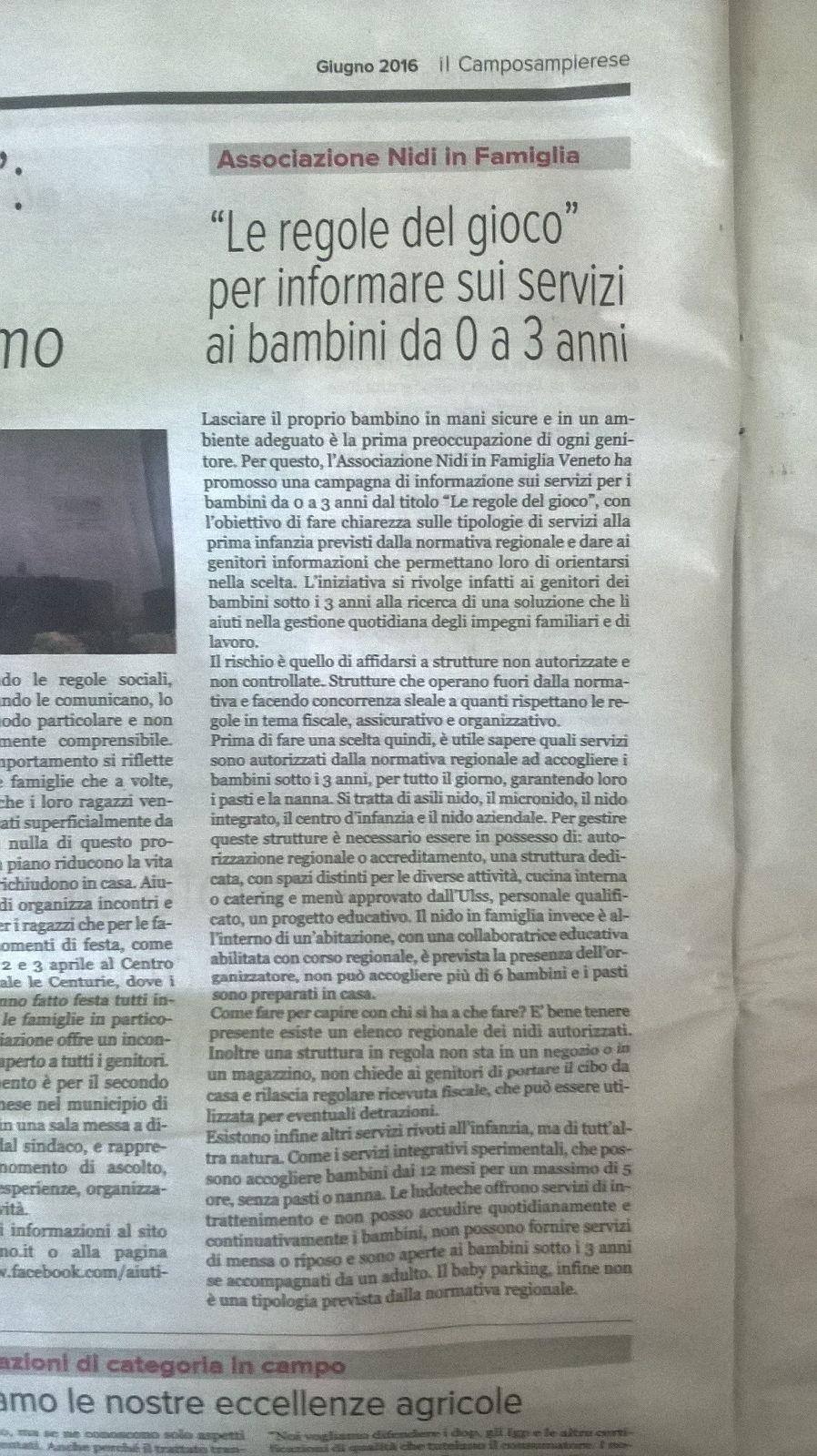 """Articolo su Ninfa in """"Il Camposampierese"""""""